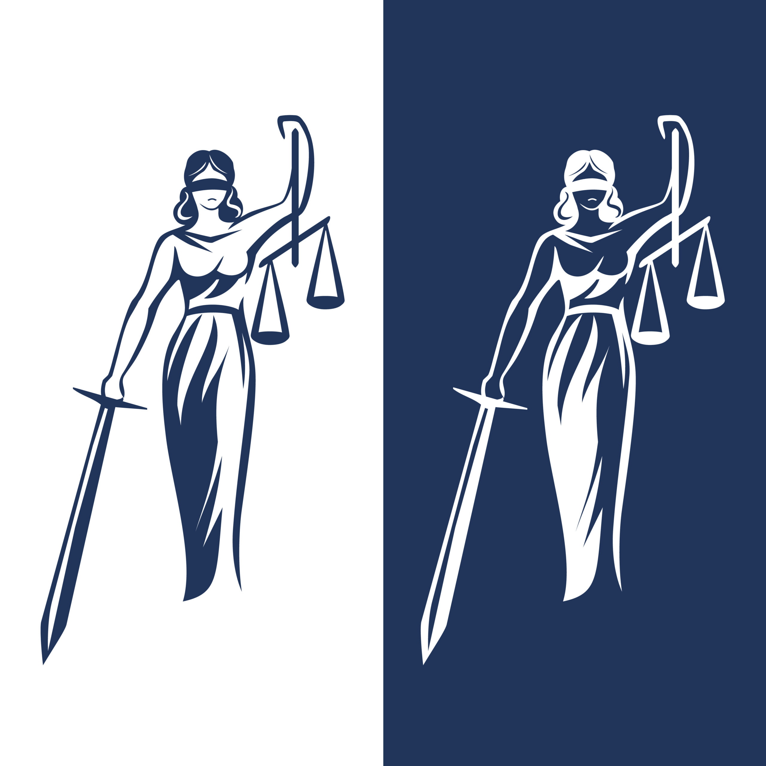 lady justice statue. Justice Goddess Themis, lady justice Femida. Stylized contour vector. Blind woman holding scales and sword.