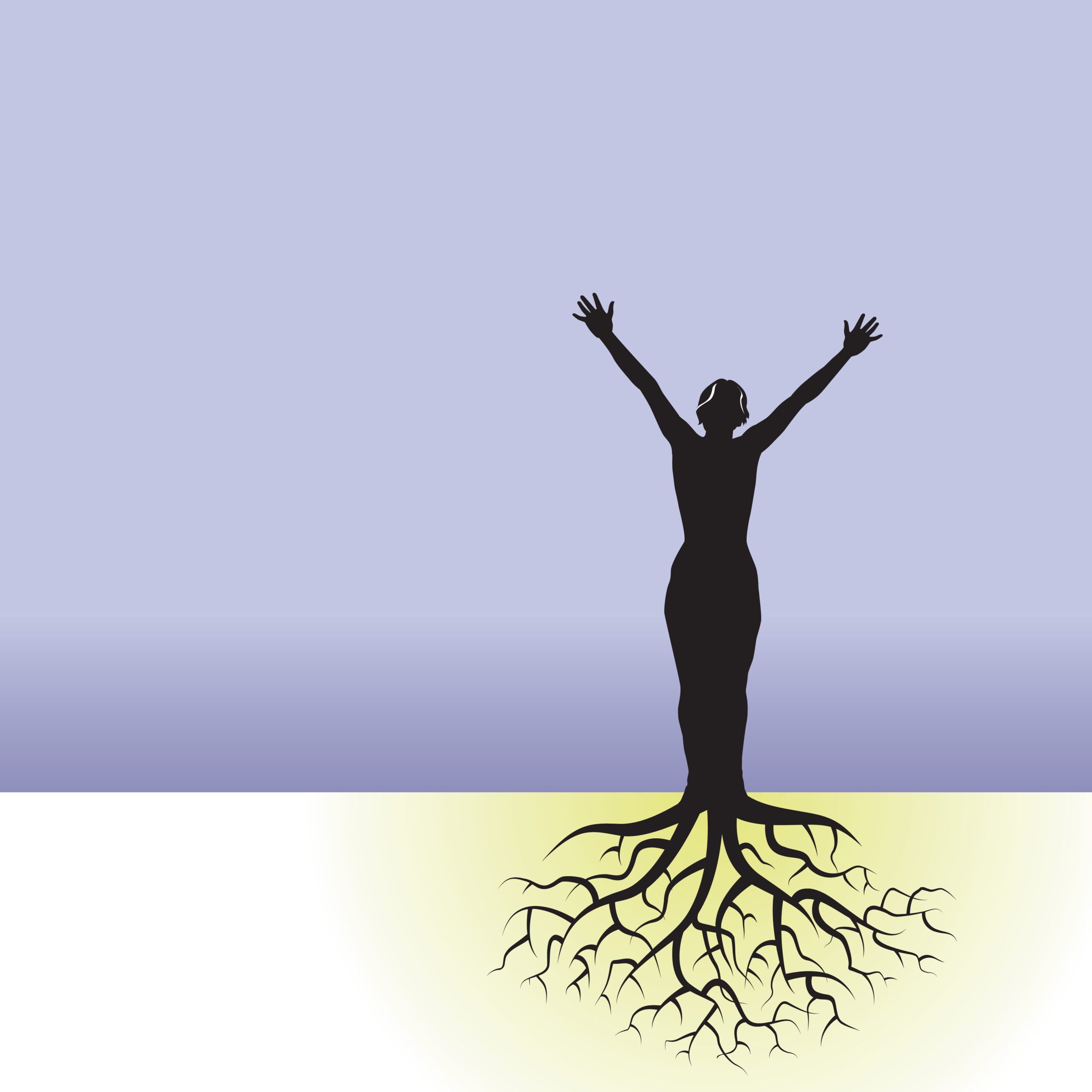 This vector background has a woman with tree roots